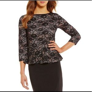 Ivanka Trump Black Floral Lace Knit Peplum Top